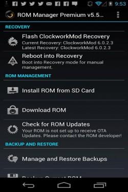 Imagen de ROM Manager
